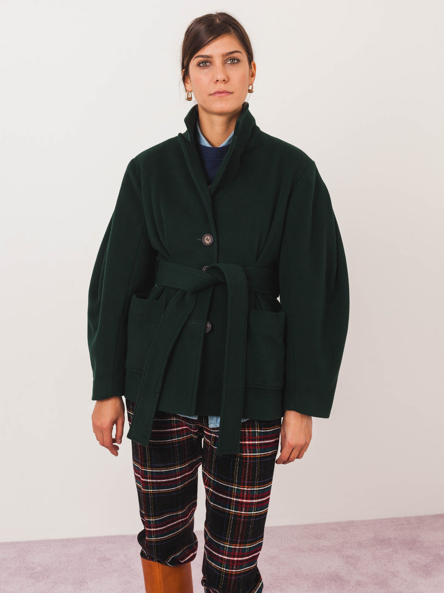 isa-arfen-bottle-green-mini-roxie-coat-on-body