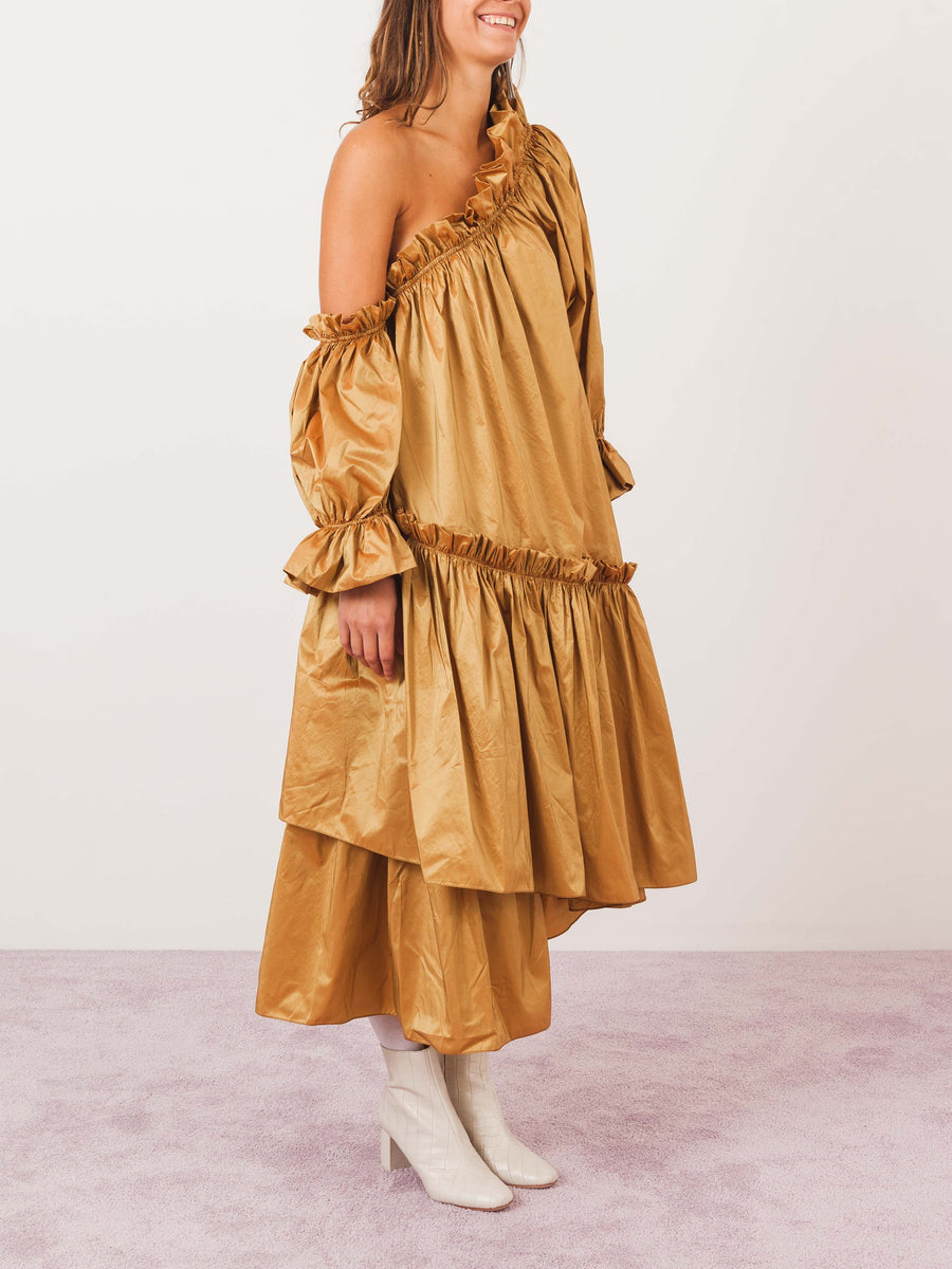 isa-arfen-mustard-gold-decadence-dress-on-body
