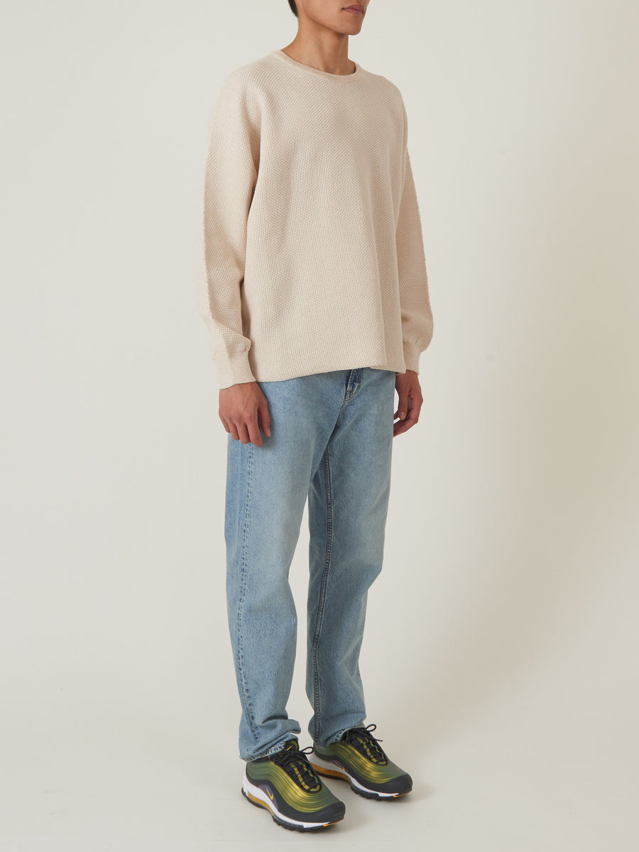 Issey-Miyake-HOMME-PLISSÉ-Ivory-Rustic-Knit-Sweater-on-body