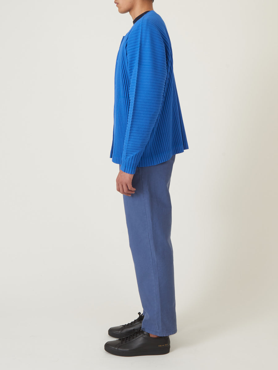Issey-Miyake-HOMME-PLISSÉ-Steel-Blue-Surface-Snap-Sweater-on-body