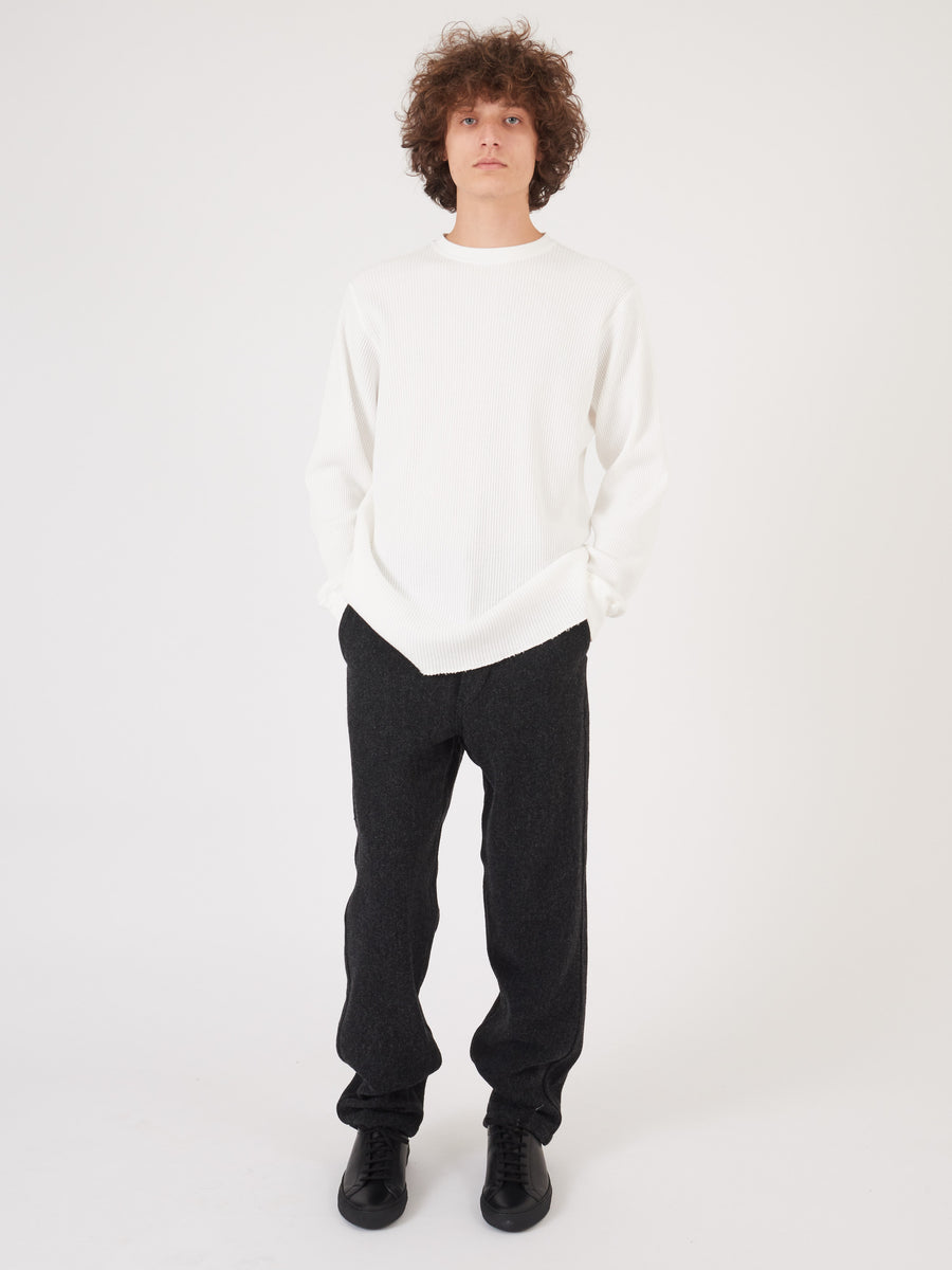 Saturdays-Ivory-Alek-Waffle-L/S-Tee-on-body