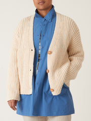 lauren-manoogian-Cream-Rib-Boucle-Cardigan-on-body