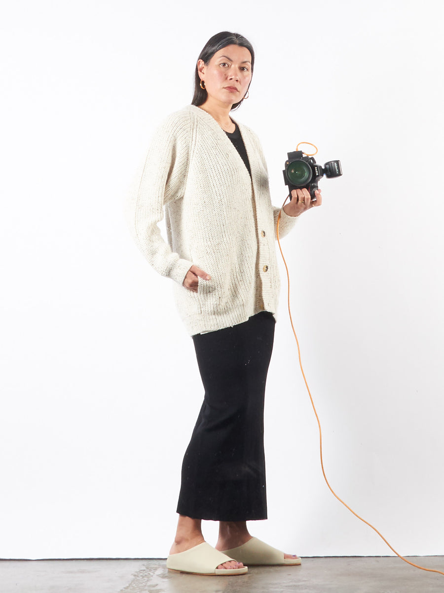 lauren-manoogian-raw-white-shaker-cardigan-on-body