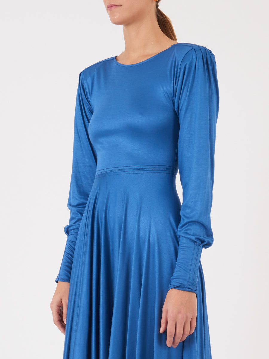 Lemaire-Blue-Sapphire-Jersey-Short-Dress-on-body