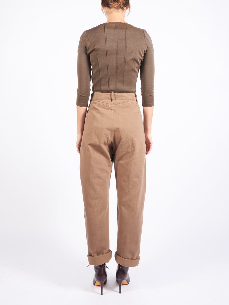Lemaire-Bronze-Brown-Denim-Curved-Pants-on-body