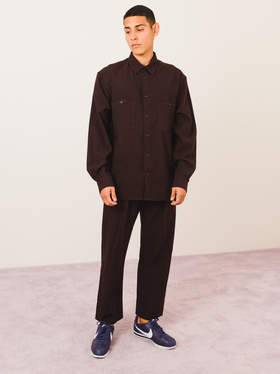 Lemaire-Dark-Brown-Patch-Pocket-Shirt-on-body