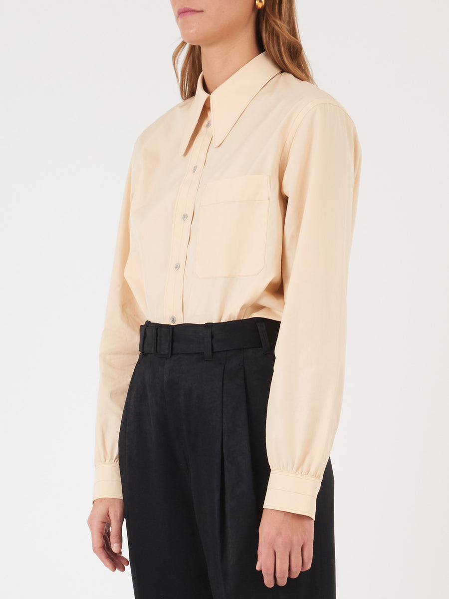 Lemaire-Ecru-Pointed-Collar-Shirt-on-body