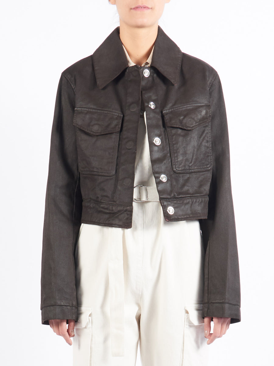 Midnight Brown Denim Short Jacket