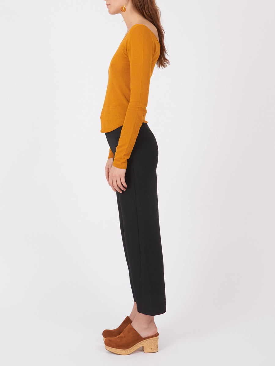 lemaire-mustard-v-neck-second-skin-cardigan-on-body