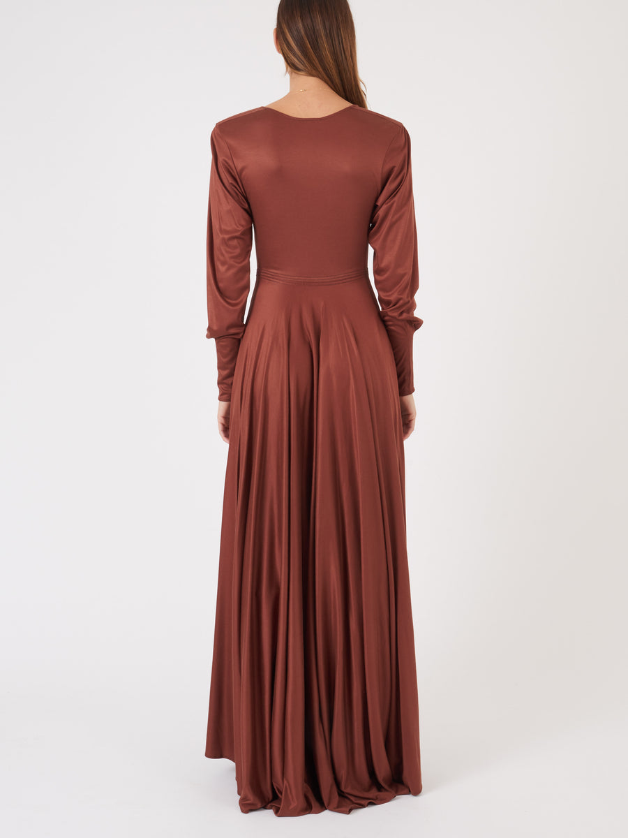 Lemaire-Sequoia-Brown-Jersey-Long-Dress-on-body