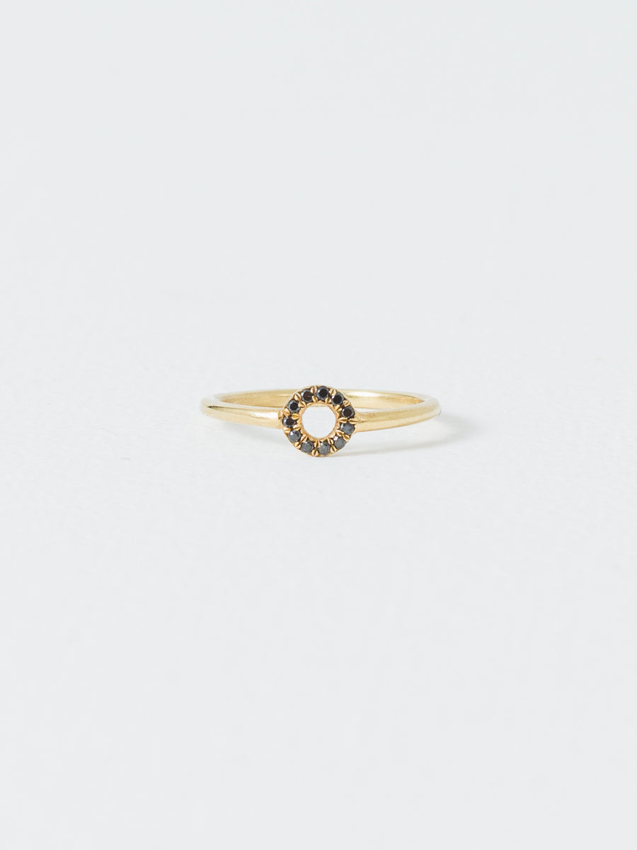 Wendy Nichol - Gold Circle Ring Black Diamond