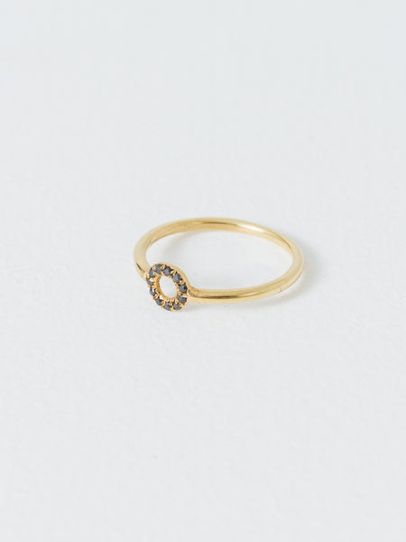 Gold Circle Ring Black Diamond