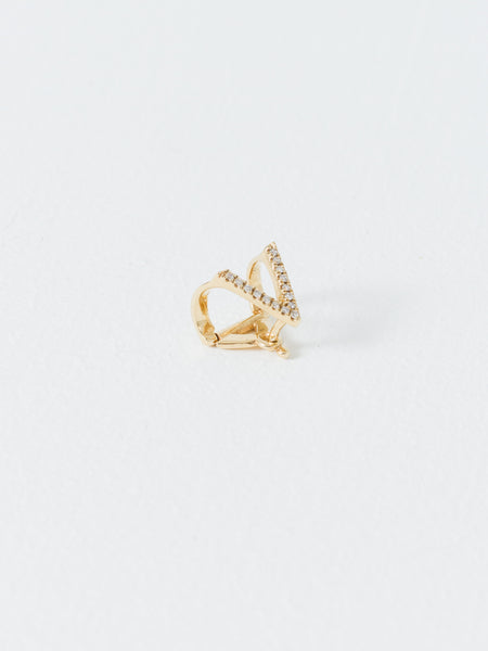 Gold Triange Ear Cuff White Diamond
