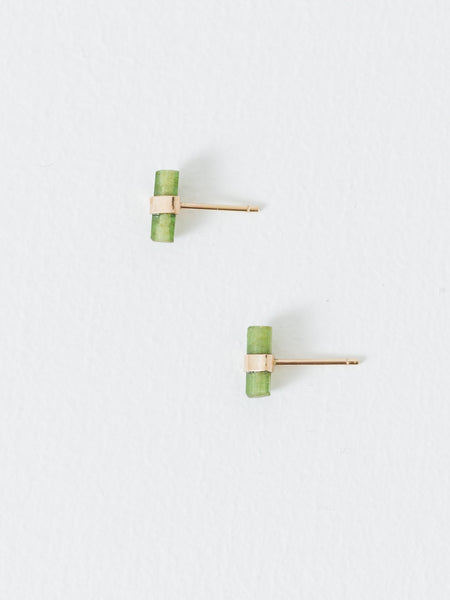 Better Late Than Never - Tourmaline Crystal Bar Studs