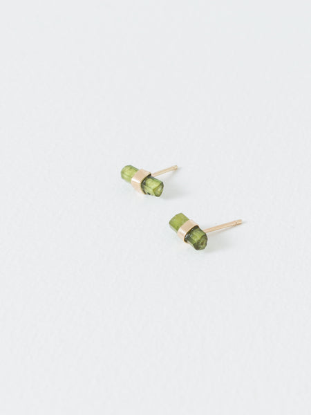 Tourmaline Crystal Bar Studs