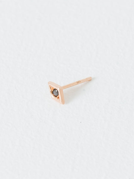 Rose Gold Black Diamond Eye Stud