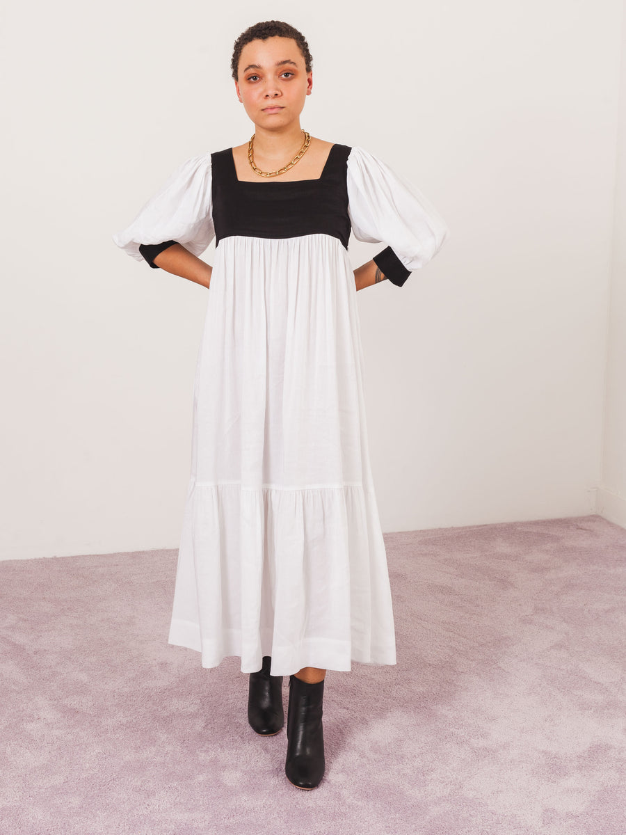 maryam-nassir-zadeh-black/white-yara-dress-on-body