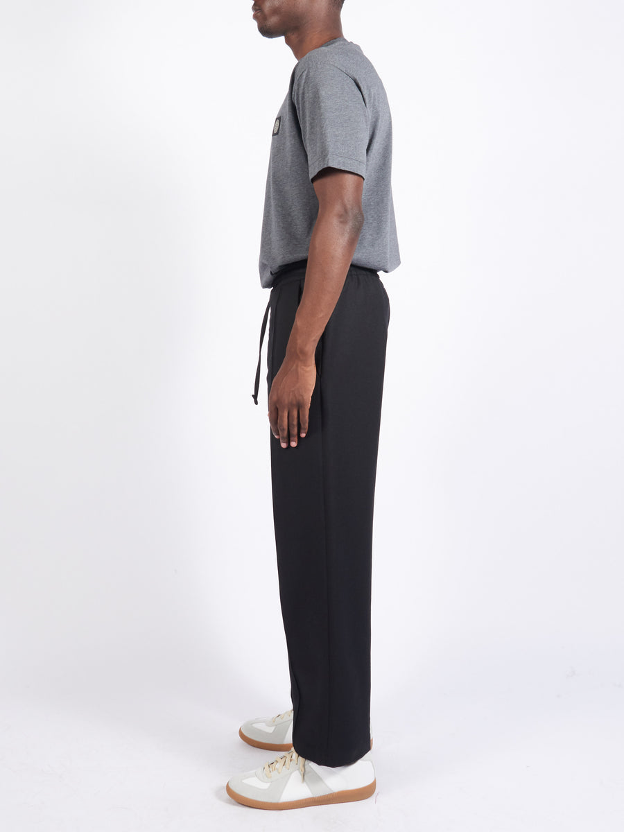 Black Pleated Tie Trouser