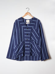 Navy Stripe Three Pocket Cardigan