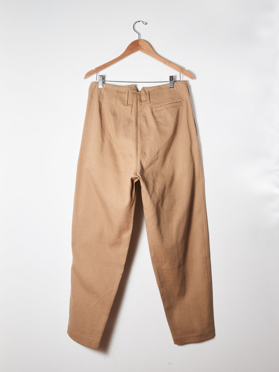 Sashiko Beige Two Pleat Trousers