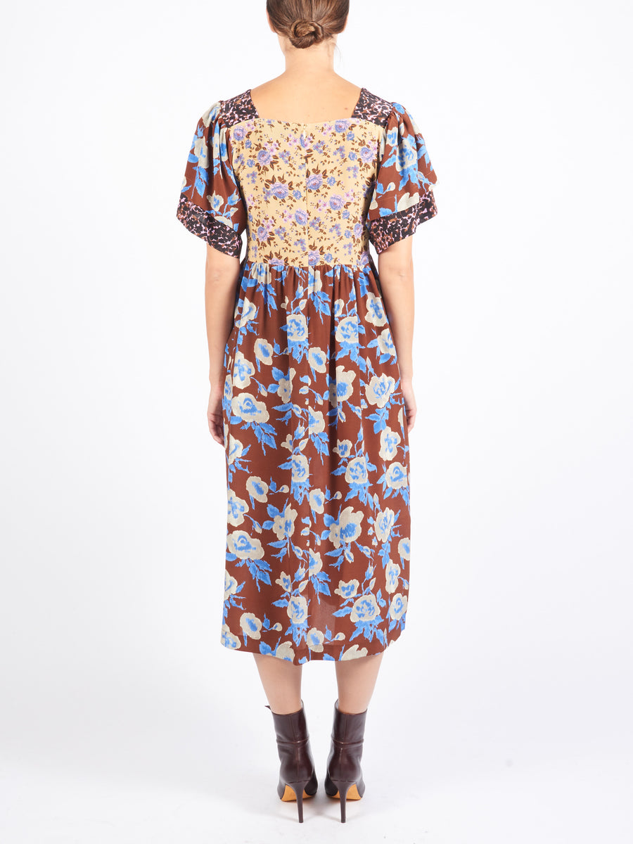 No-6-Coffee-Blue-Ikat-Combo-Yves-Patchwork-Dress-on-body