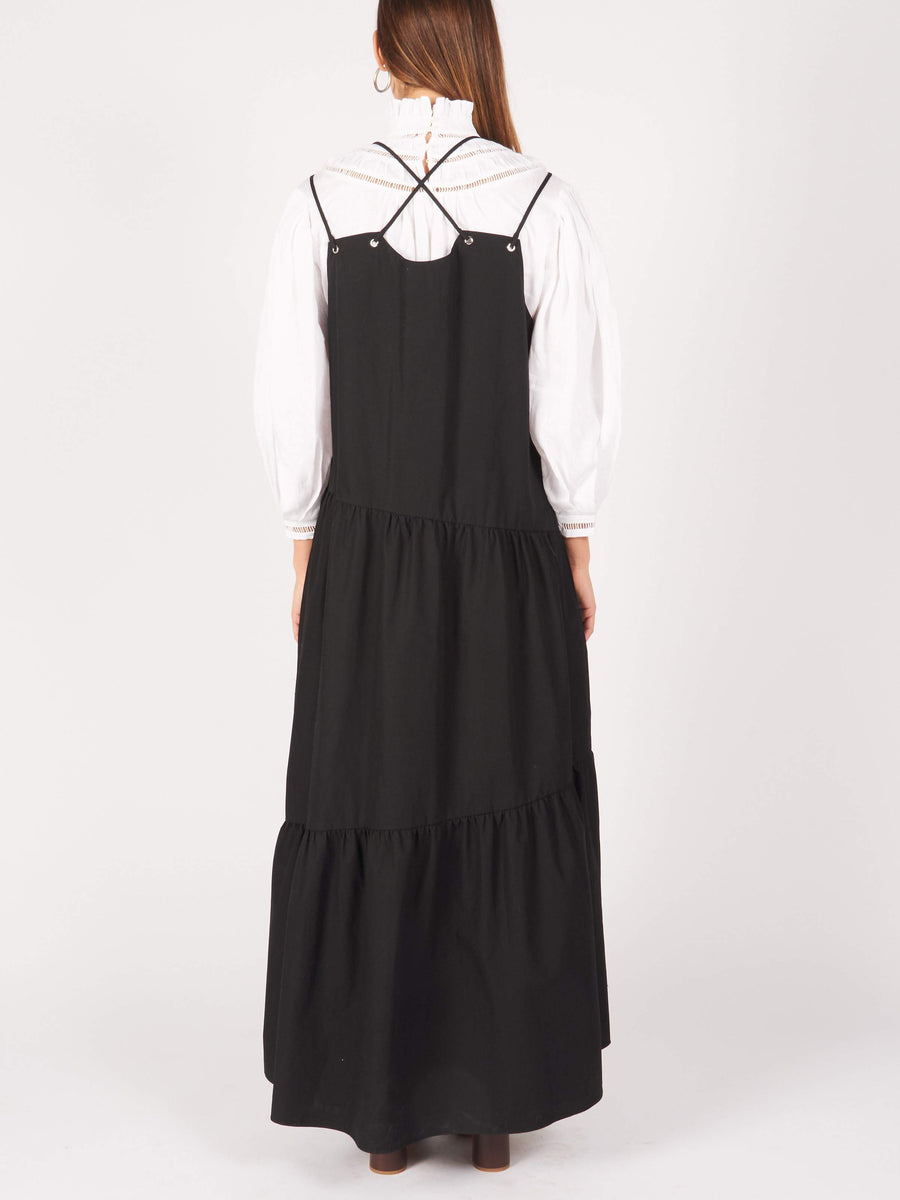 Nomia-Black-Maxi-Gathered-Cross-Front-Dress-on-body
