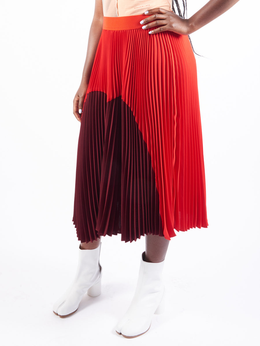 Burgundy/Red Sunburst Pleated Skirt
