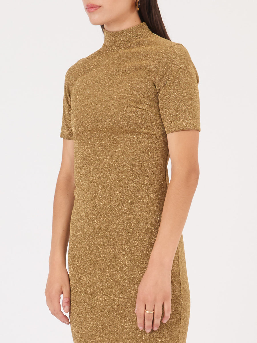 nomia-gold-short-sleeved-mock-midi-dress-on-body