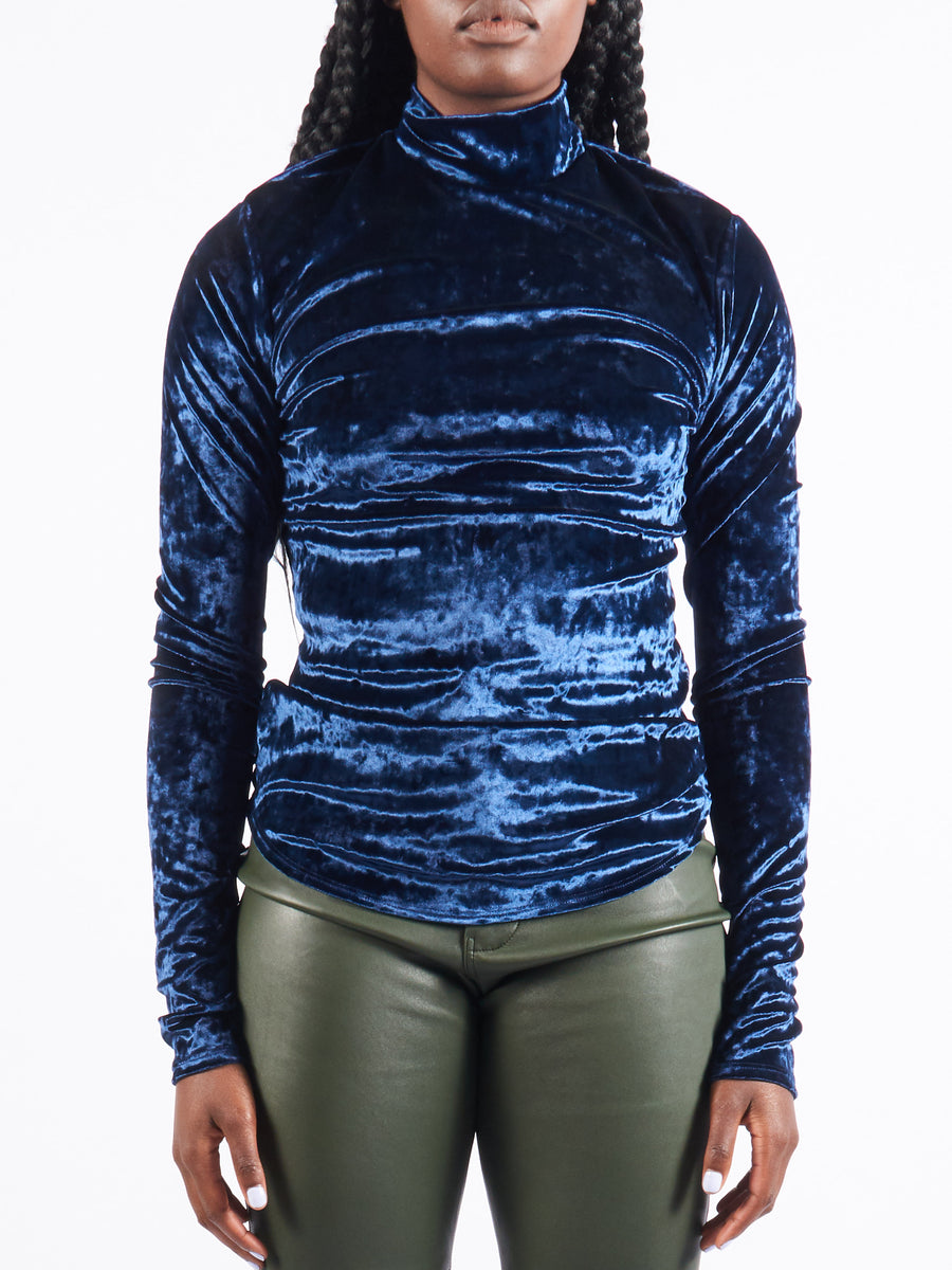 Navy Long Sleeve Velvet Mockneck