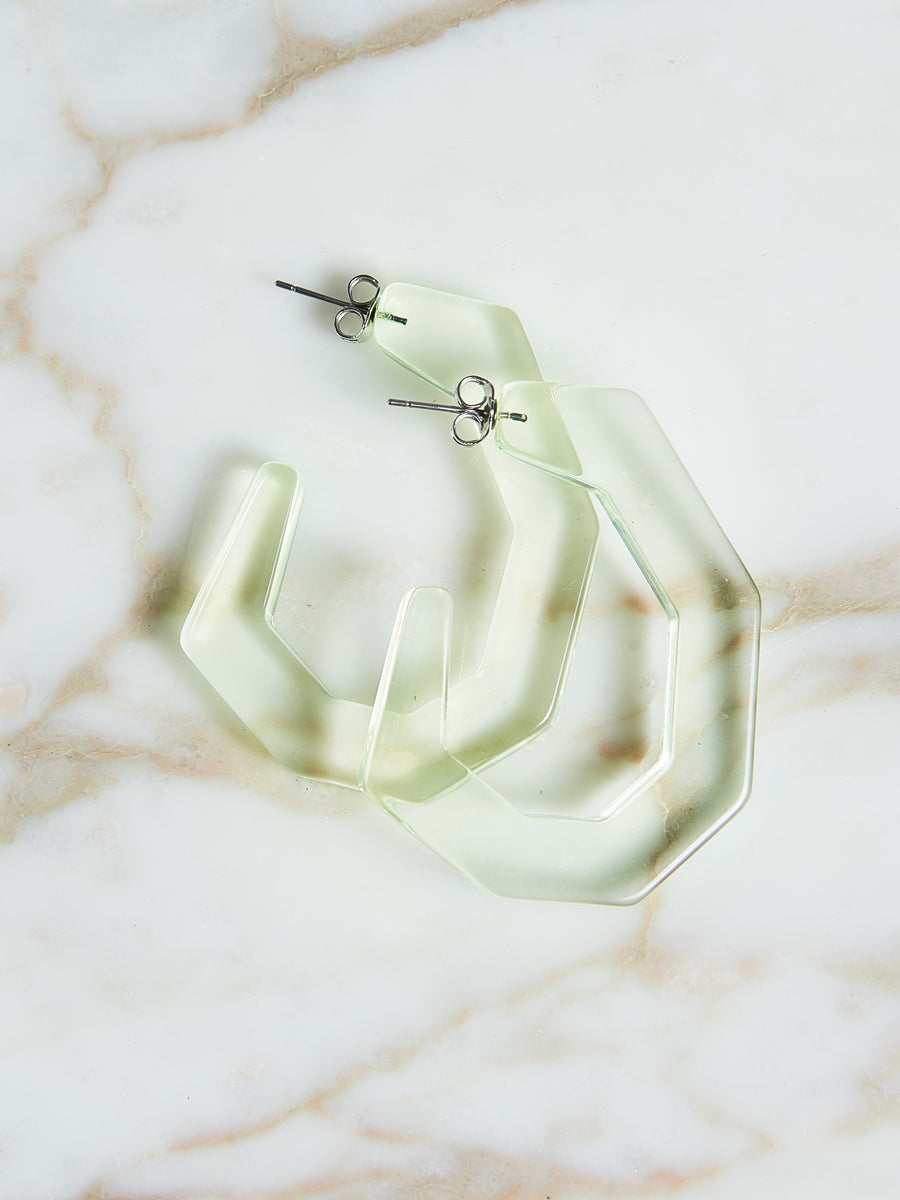Clear Neon Yellow Baby Factor Earrings