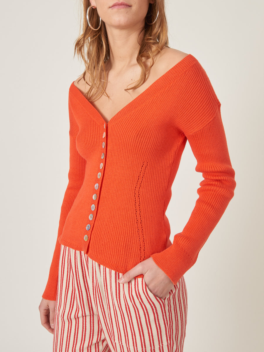 rachel-comey-Red-Whit-Cardigan-on-body