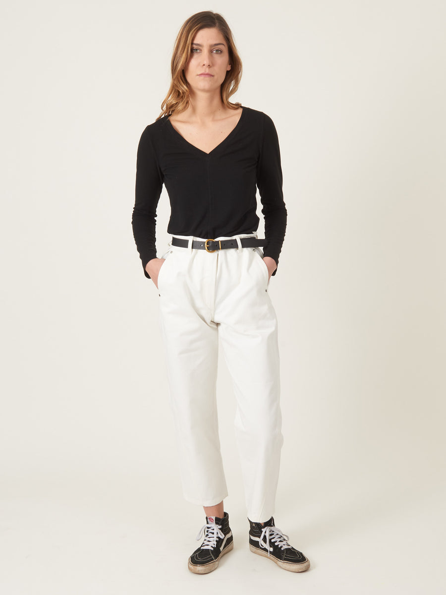 raquel-allegra-Black-Fitted-V-Neck-on-body