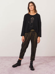 raquel-allegra-black-frayes-easy-pants-on-body