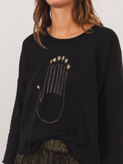 raquel-allegra-black-seven-chakras-print-sweatshirt-on-body
