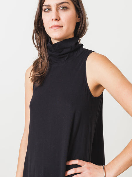 raquel-allegra-black-sleeveless-turtleneck-maxi-dress-on-body