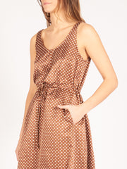 Raquel-Allegra-Brown-Dot-Tank-Drawstring-Dress-on-body