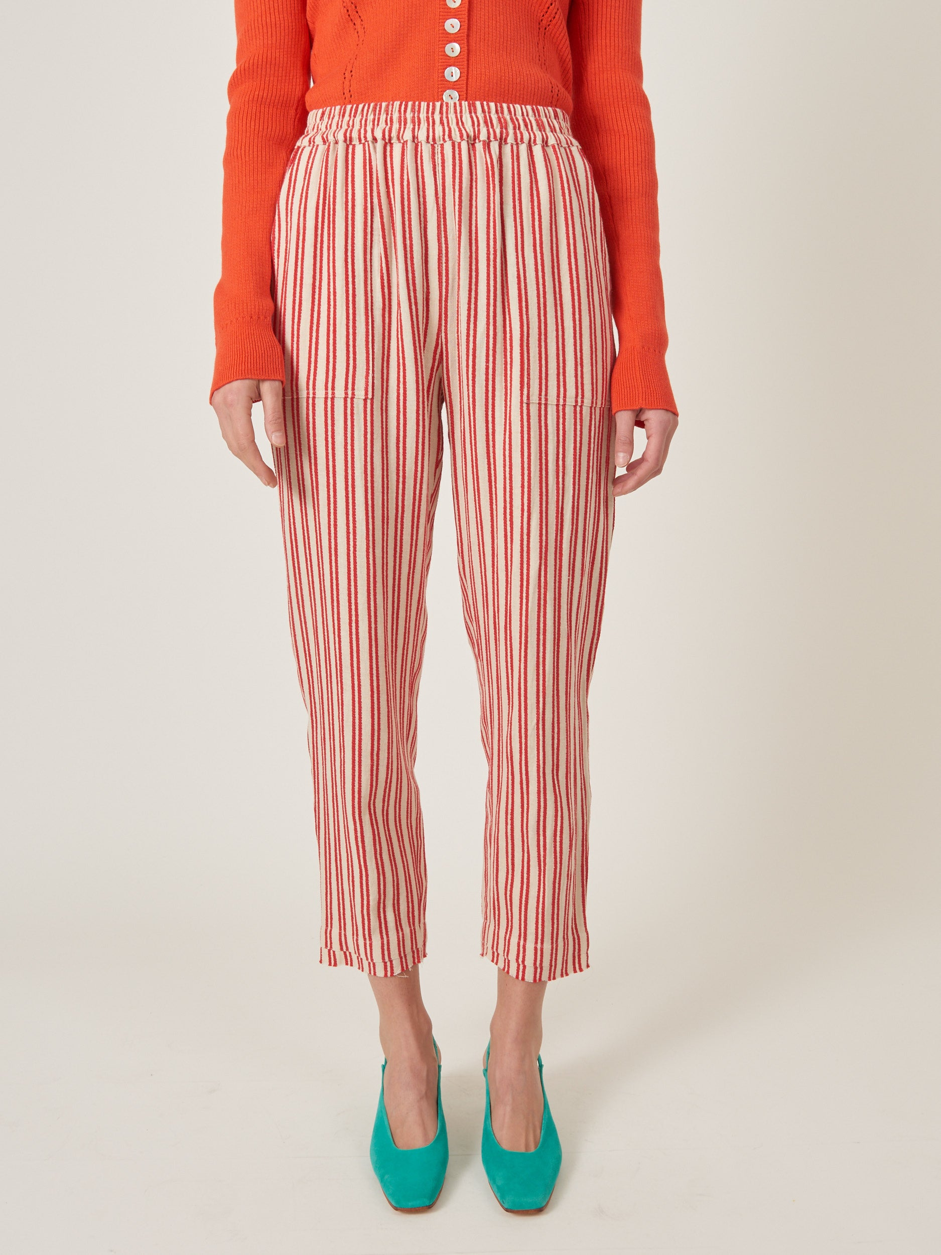 Natural/Red Striped Pull On Pant