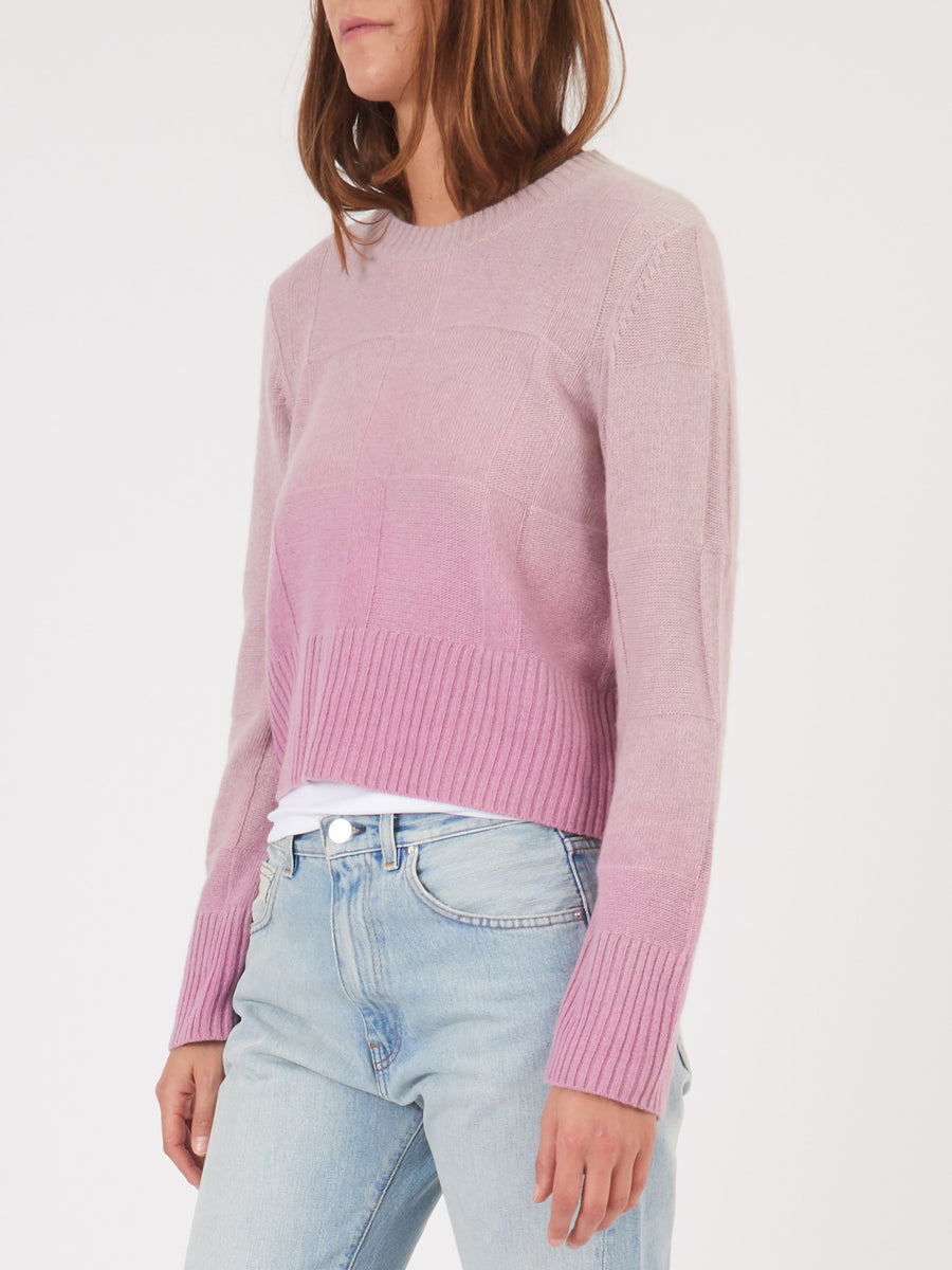 Raquel-Allegra-Orchid-Tie-Dye-Cropped-Crew-Sweater-on-body