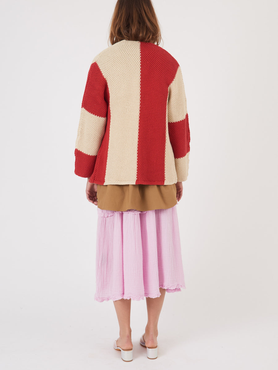 raquel-allegra-red-parchment-tie-cardigan-on-body