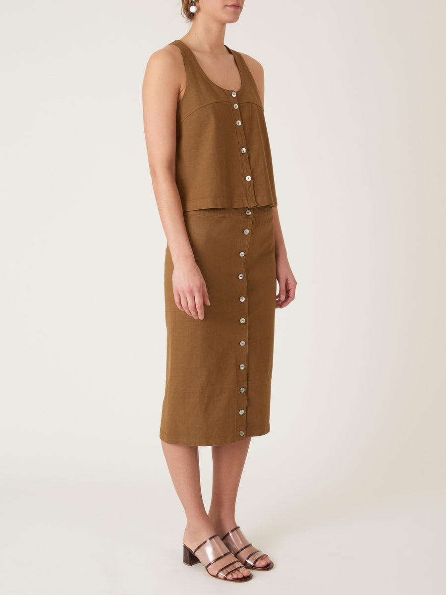 raquel-allegra-tobacco-button-front-racer-tank-on-body