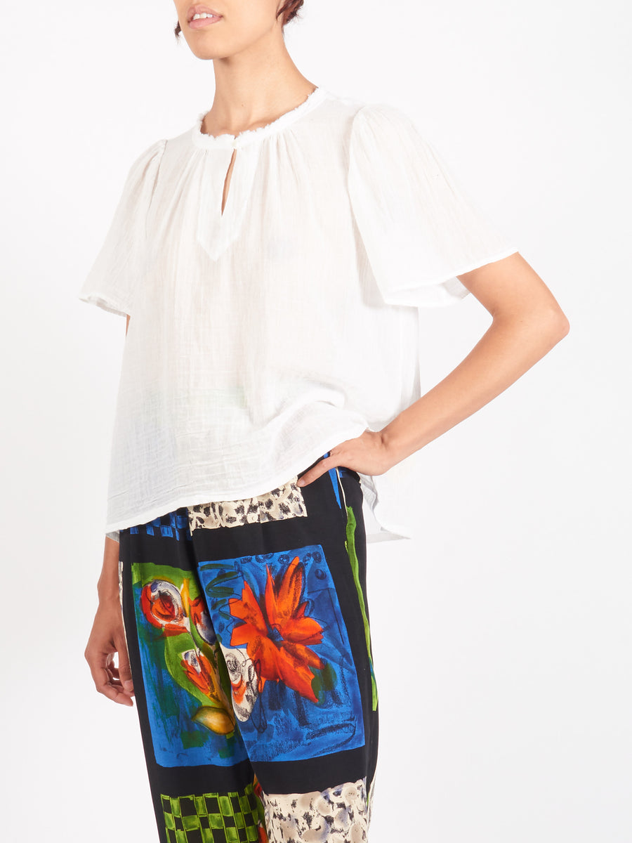 Raquel-Allegra-Washed-White-Flutter-Blouse-On-Body