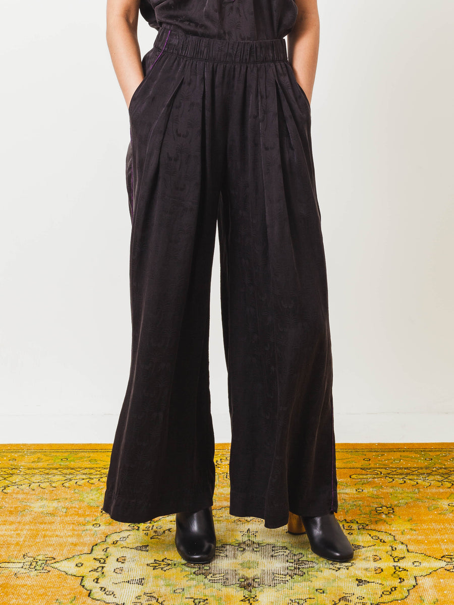 Black Wide Leg Pant W/ Purple Piping