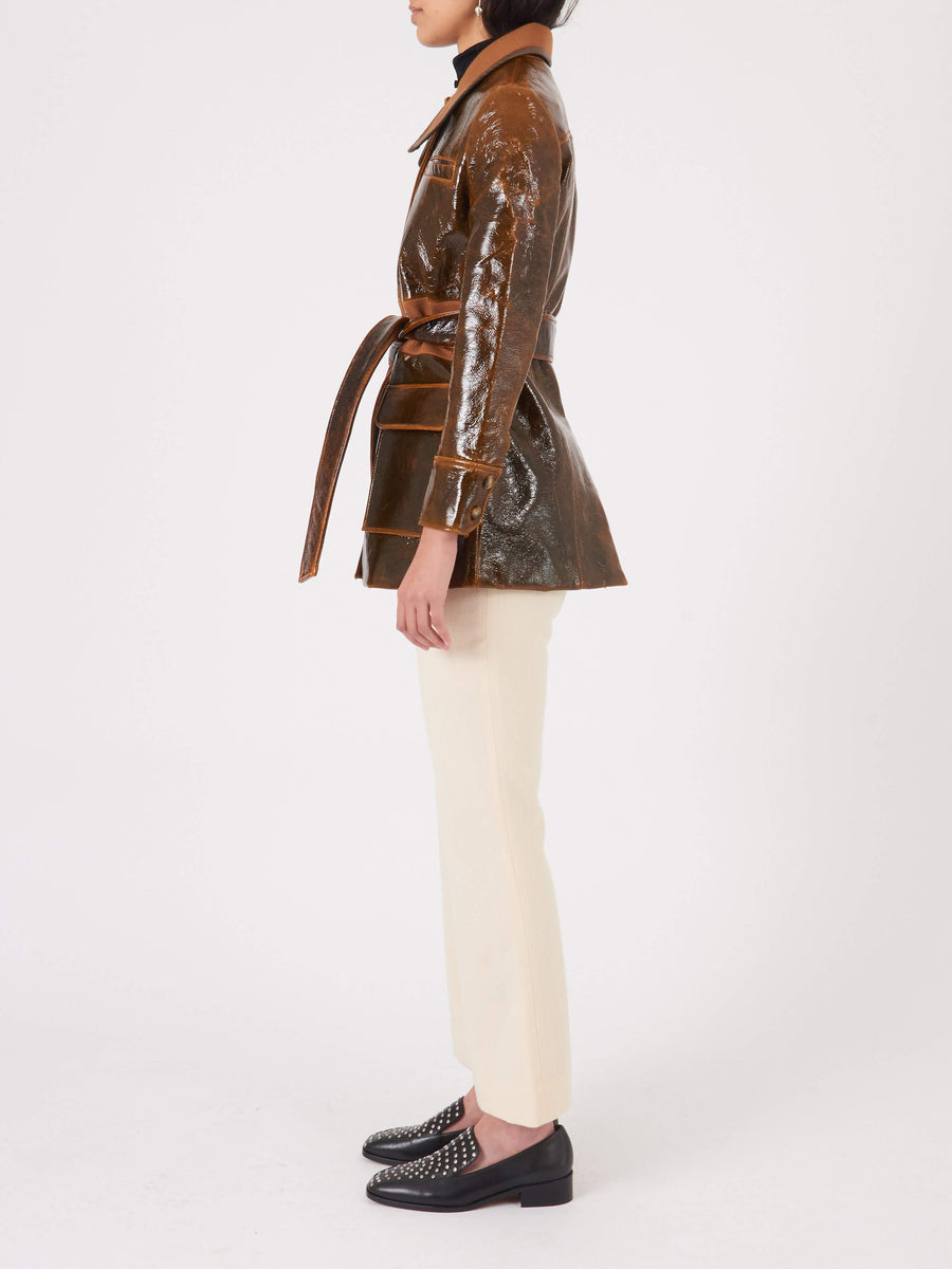 Rejina-Pyo-Brown-Laminated-Felix-Jacket-on-body