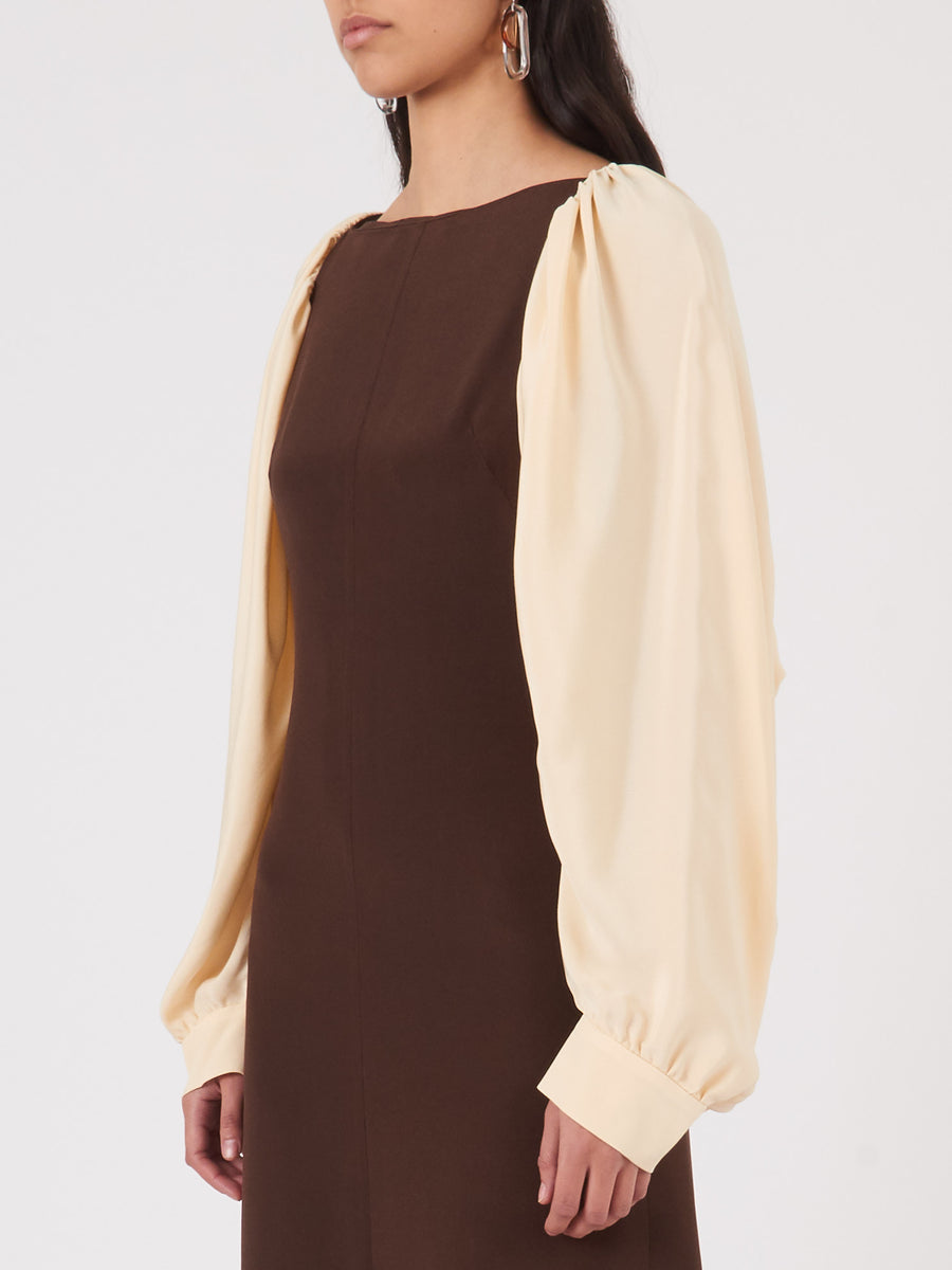 Rejina-Pyo-Brown/Ivory-Lila-Dress-on-body