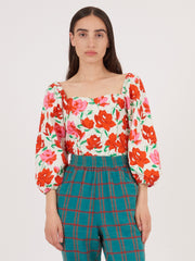 Rixo-White/Red-Large-Rose-Veronica-Top-on-body