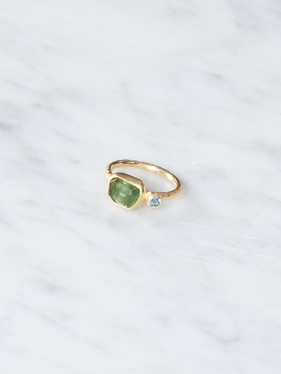 Sarah-Richardson-Jewelry-Aquamarine/Tourmaline-Pebble-Organic-Ring
