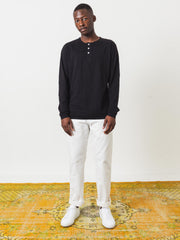 Saturdays-NYC-Black-Mitch-L/S-Henley-Tee-on-body