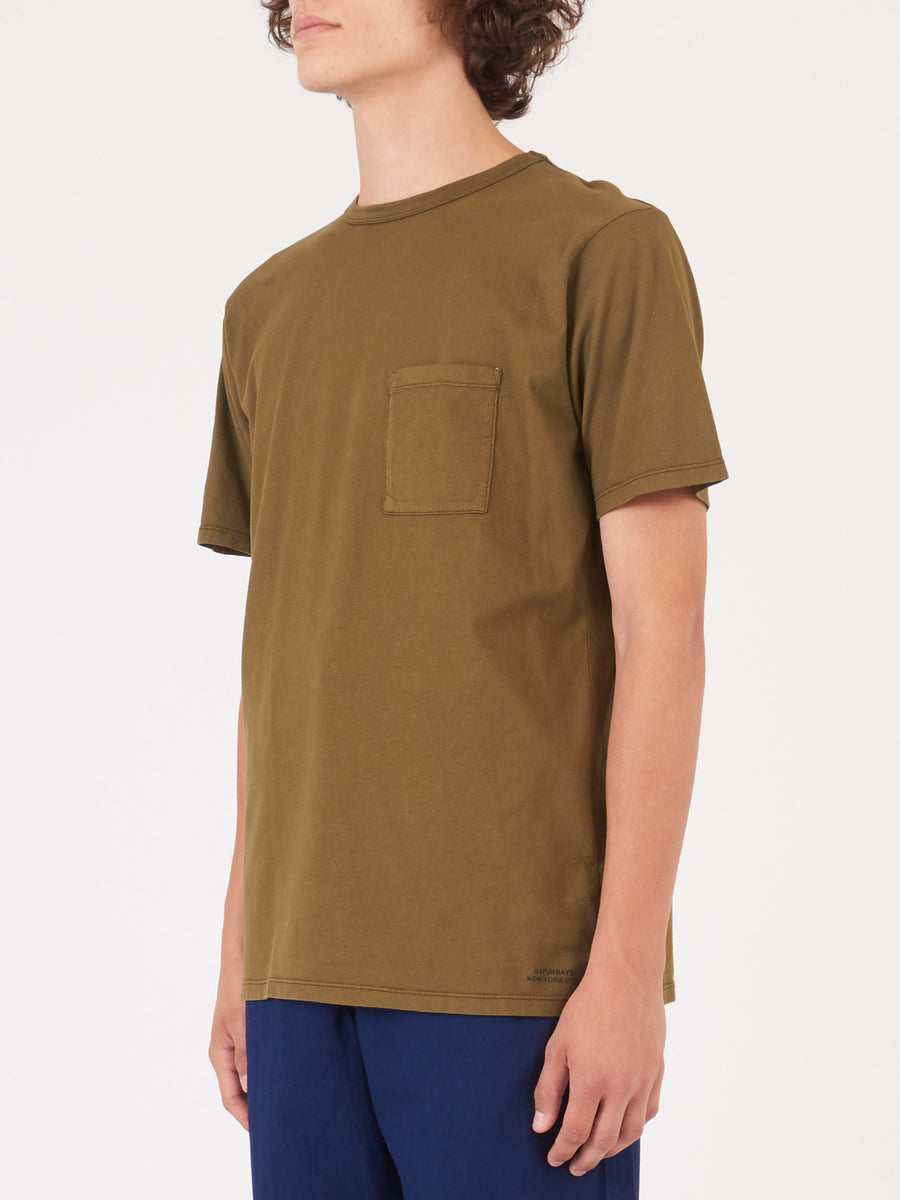 Saturdays -Military-Olive-Randall-Pima-S/S-Tee-on-body