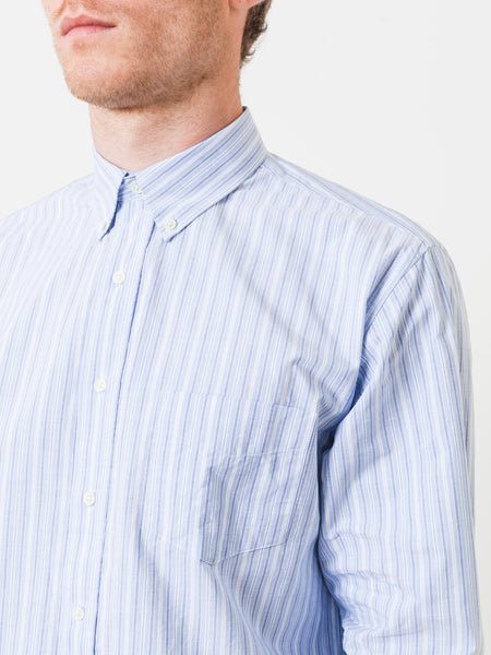 Blue Leisure Barre Faded Stripe Shirt