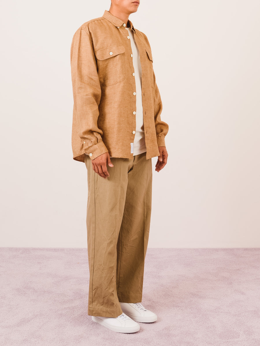 Schnayderman's-Brown-Linen-Oversized-Shirt-on-body